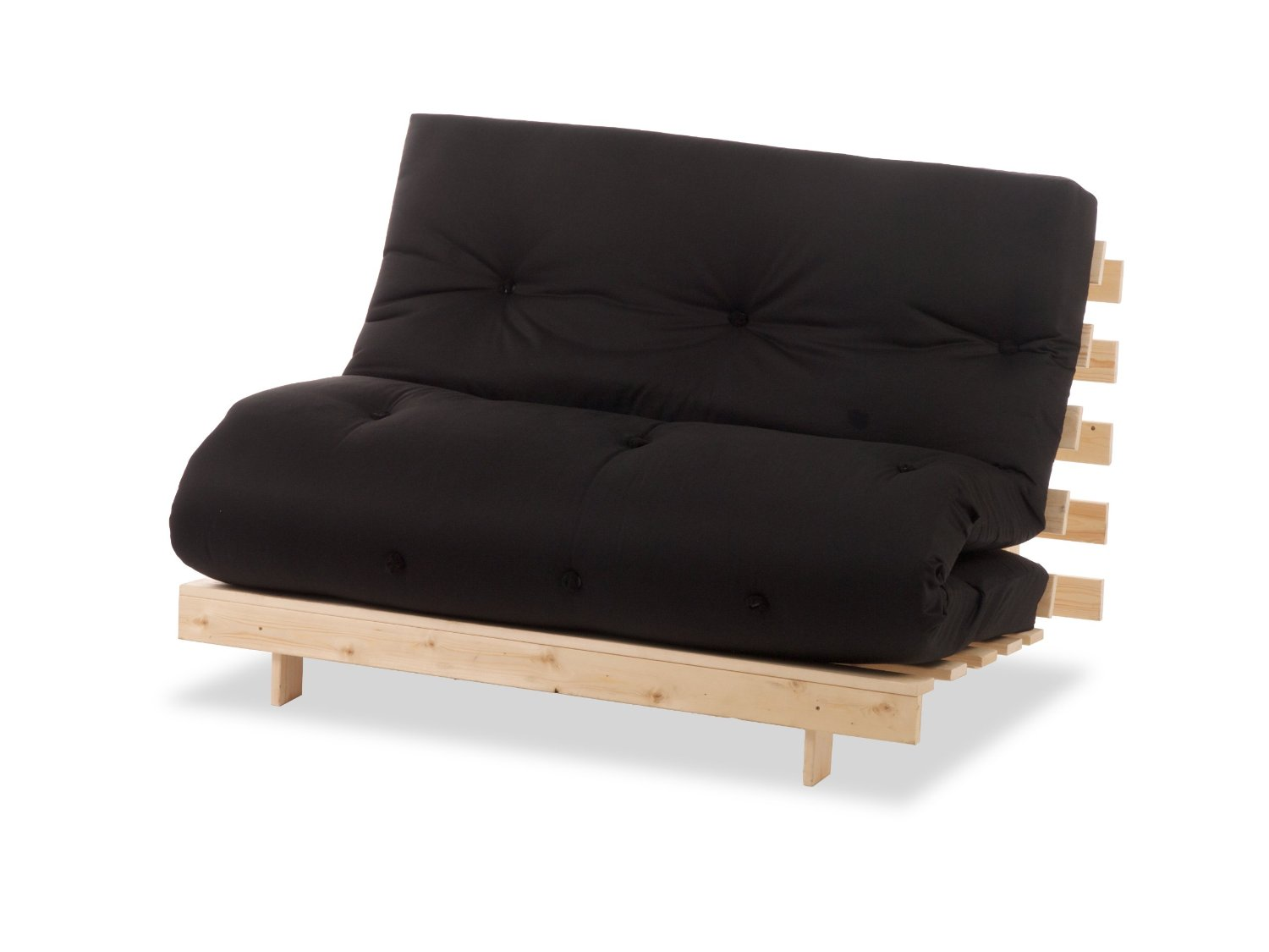 Metro one seater wooden futon sofa bed for Sofa bed futon