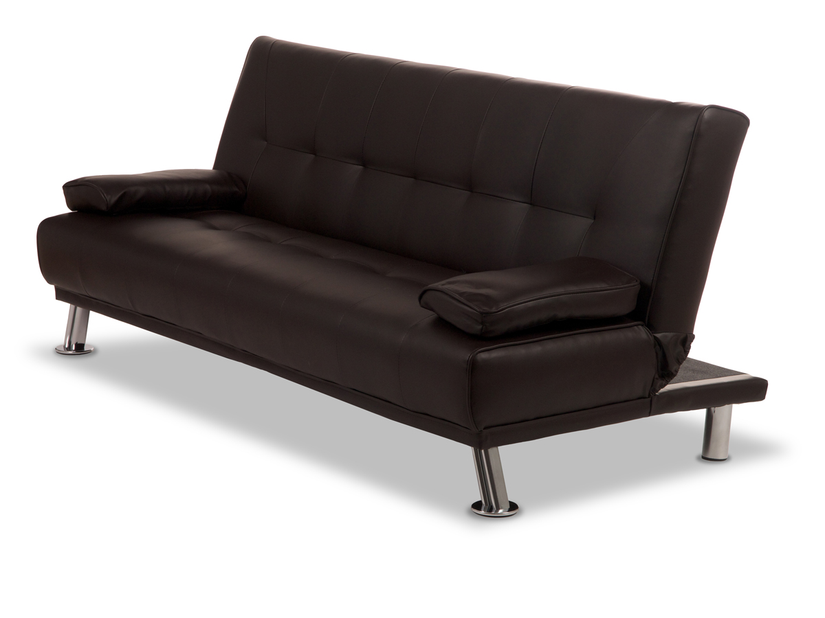 Venice leather sofa bed black home Loveseat sofa bed