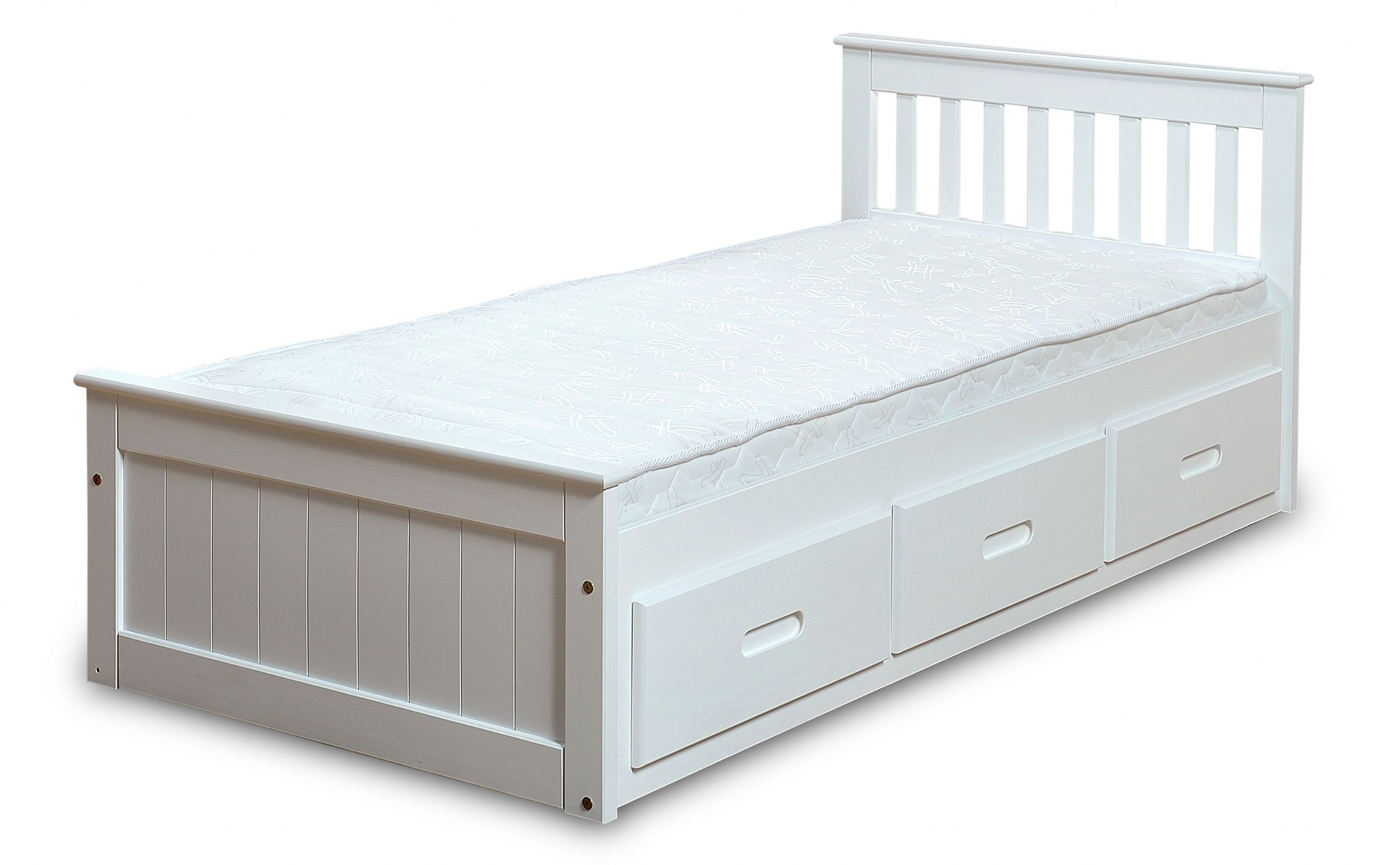 White mission children s 3ft single wooden bed with 3 for Single divan bed with storage drawers