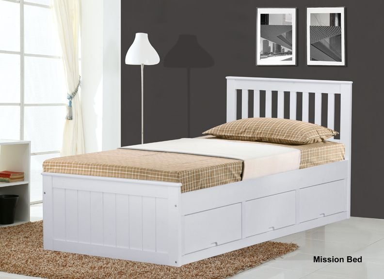 White Mission Childrens Ft Single Wooden Bed With  Drawers Storage